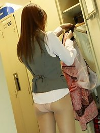 Naughty little asian secretary takes off all her clothes